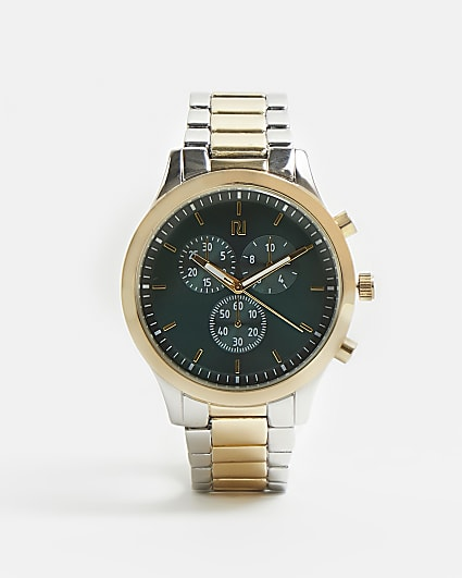 Mixed metal green RI branded link strap watch
