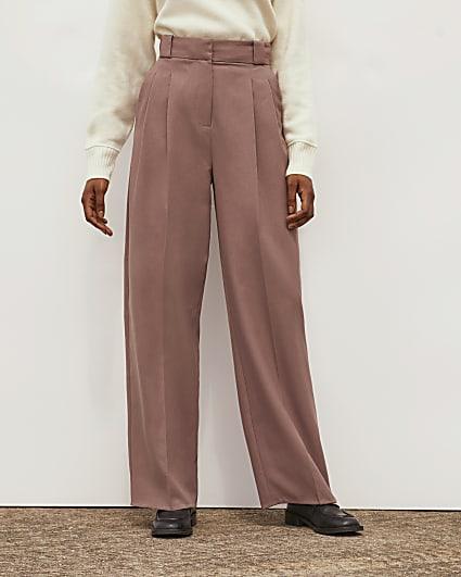 Mocha RI Studio Pleated Wide Leg Trousers