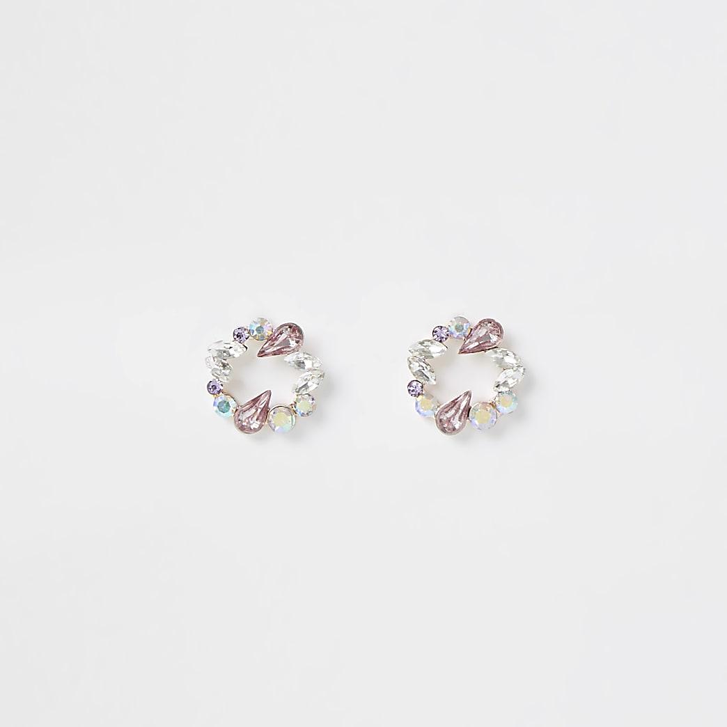 Multicoloured circle stud earrings