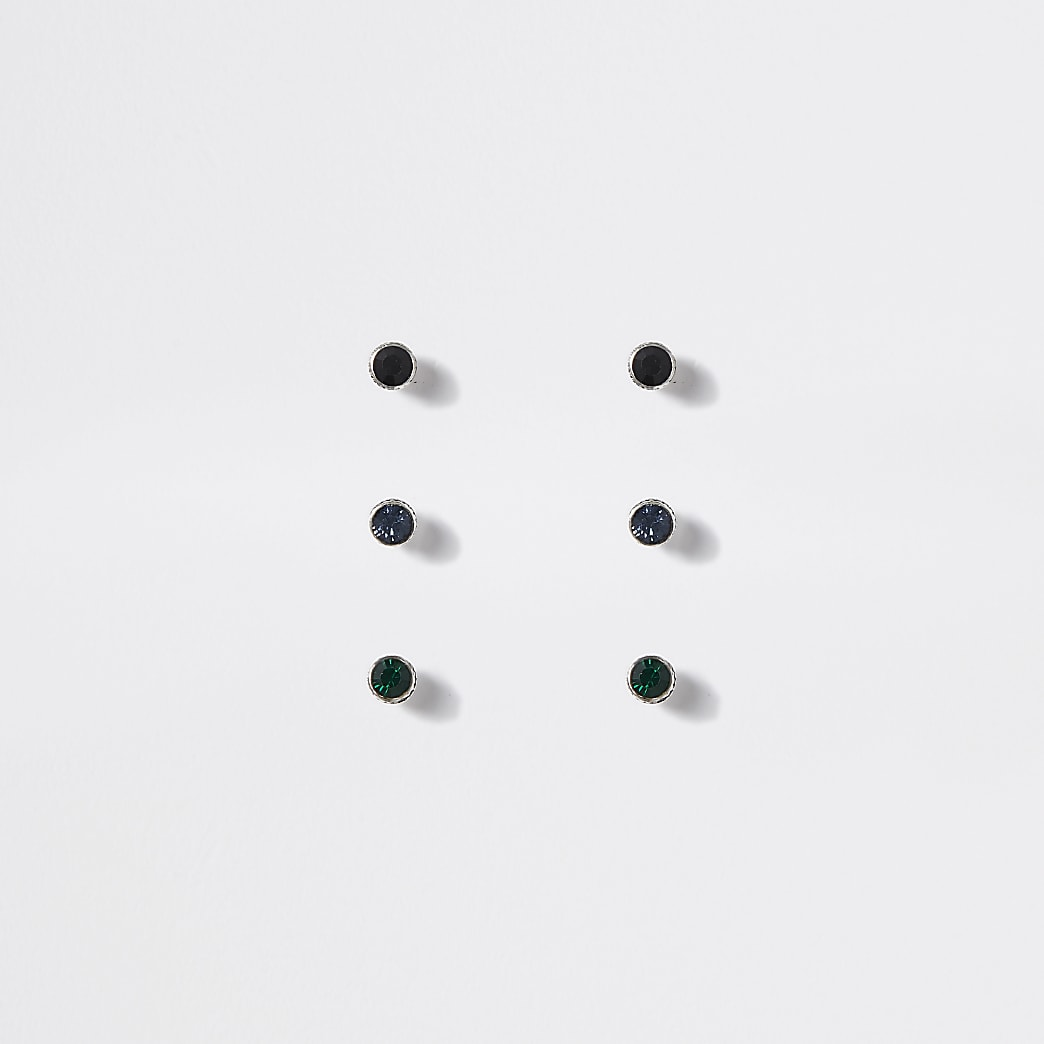 Multicoloured diamante stud earrings 3 pack