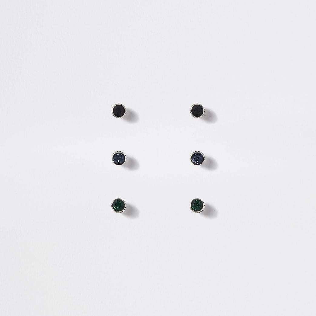 Set van 3 meerkleurige oorknopjes met siersteentjes