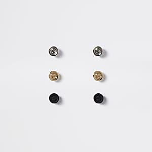3er-Pack bunte Ohrstecker mit Schraubverschluss