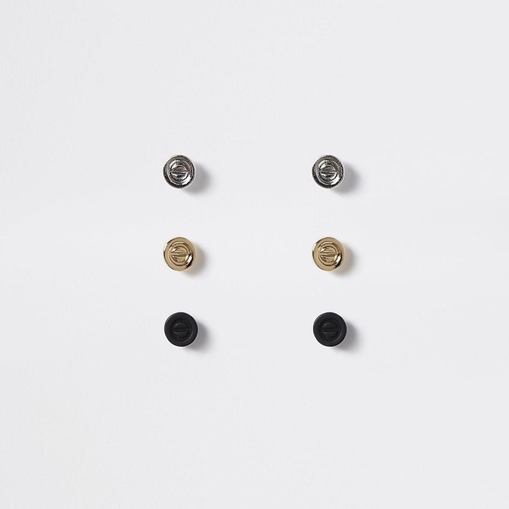 Set van 3 meerkleurige oorknopjes in schroefvorm