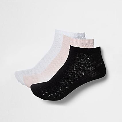 Multicoloured trainer socks pack of 3