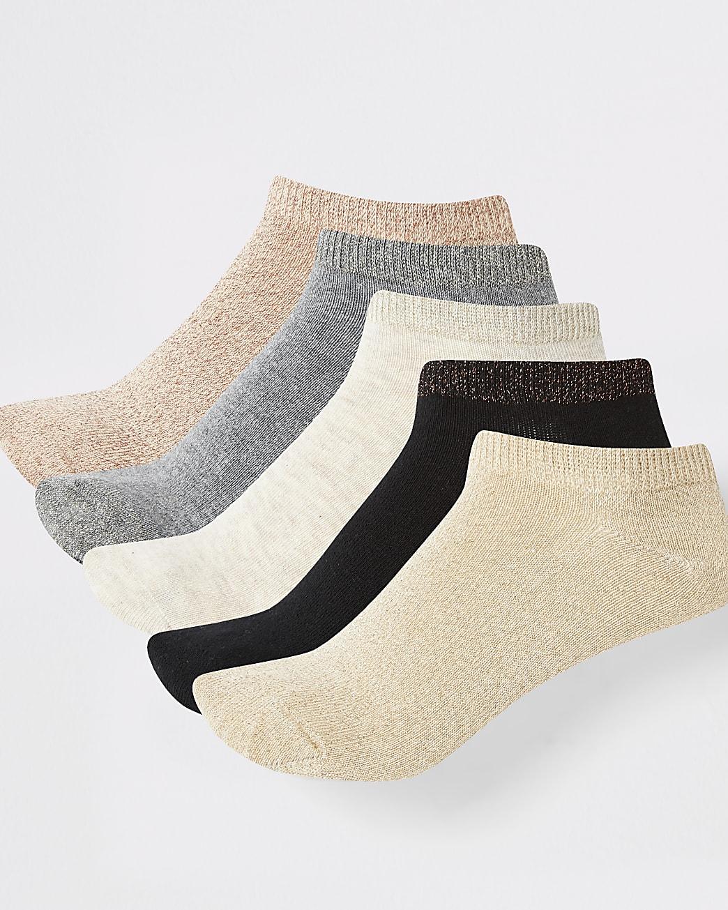 Multicoloured trainer socks pack of 5