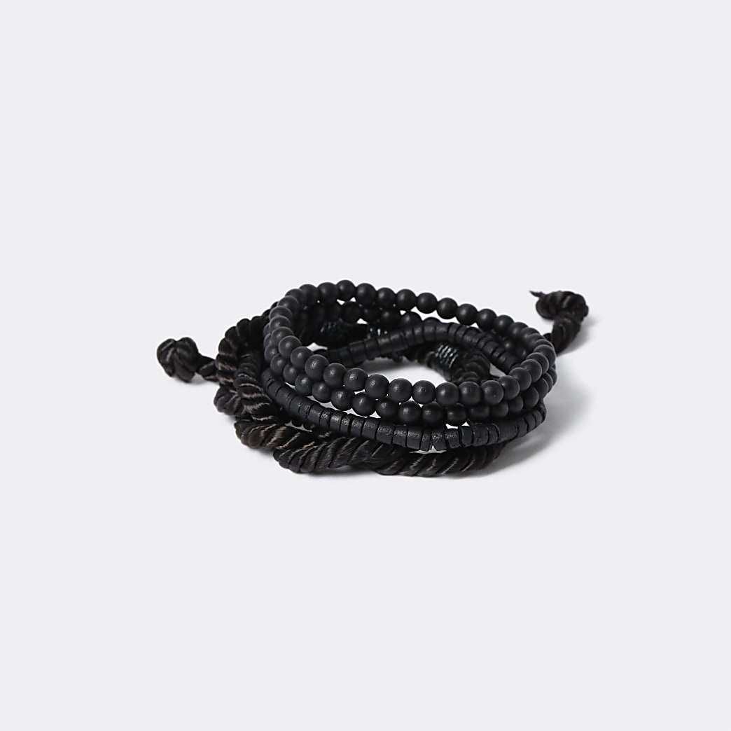 Multipack black bead and fabric bracelets
