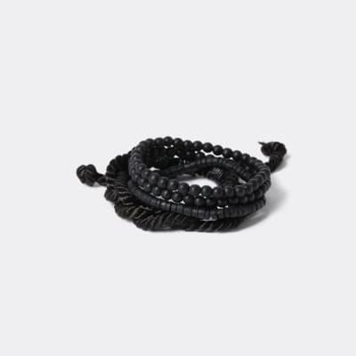 Multipack Black Bead And Fabric Bracelets River Island