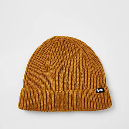 Mustard fishermen beanie hat