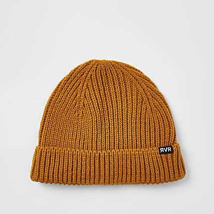 Mustard knitted docker beanie hat