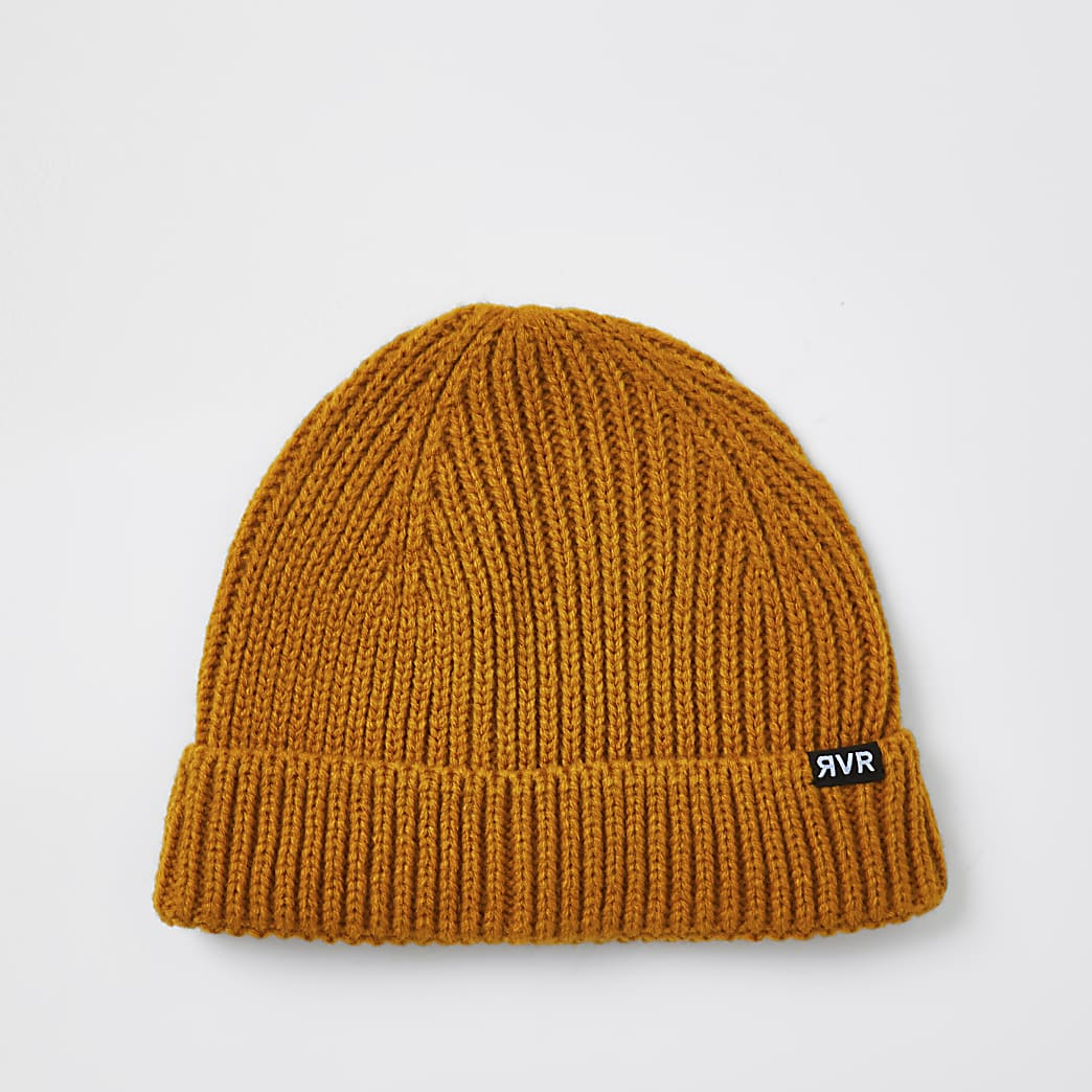 Mustard knitted docker beanie hat