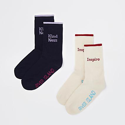 Navy & beige RI print tube socks 2 pack