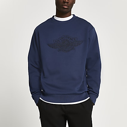 Navy 'Aix Provence' slim fit sweatshirt