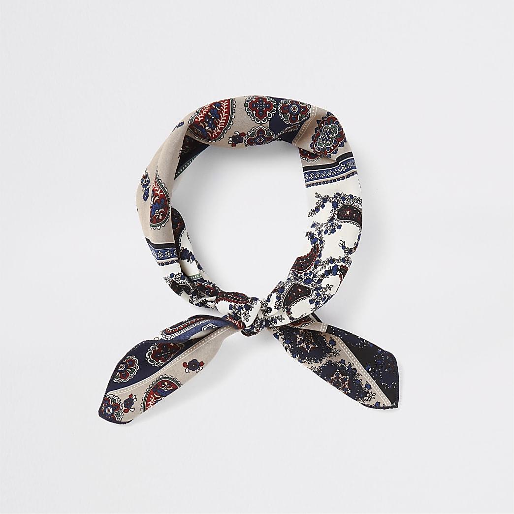 Navy and cream bandana