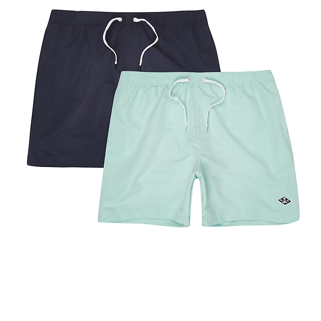Set van 2 marineblauwe en mintgroene zwemshorts