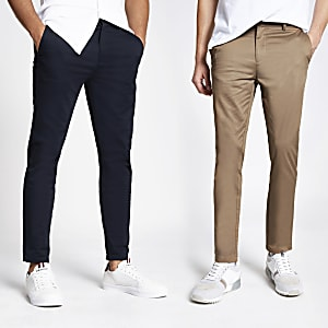 Navy and tan skinny chino trousers 2 pack