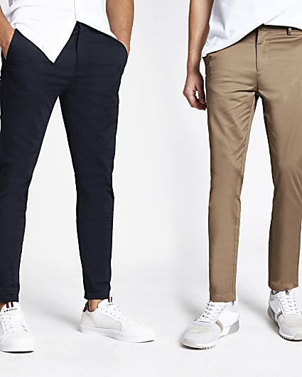 Navy and tan skinny fit chino trousers 2 pack