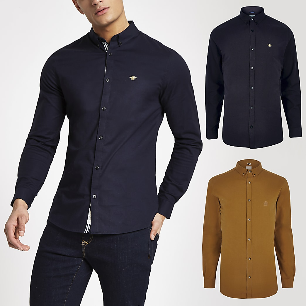 Navy and yellow muscle Oxford shirt 2 pack