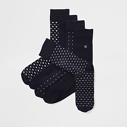 Navy assorted print socks 5 pack