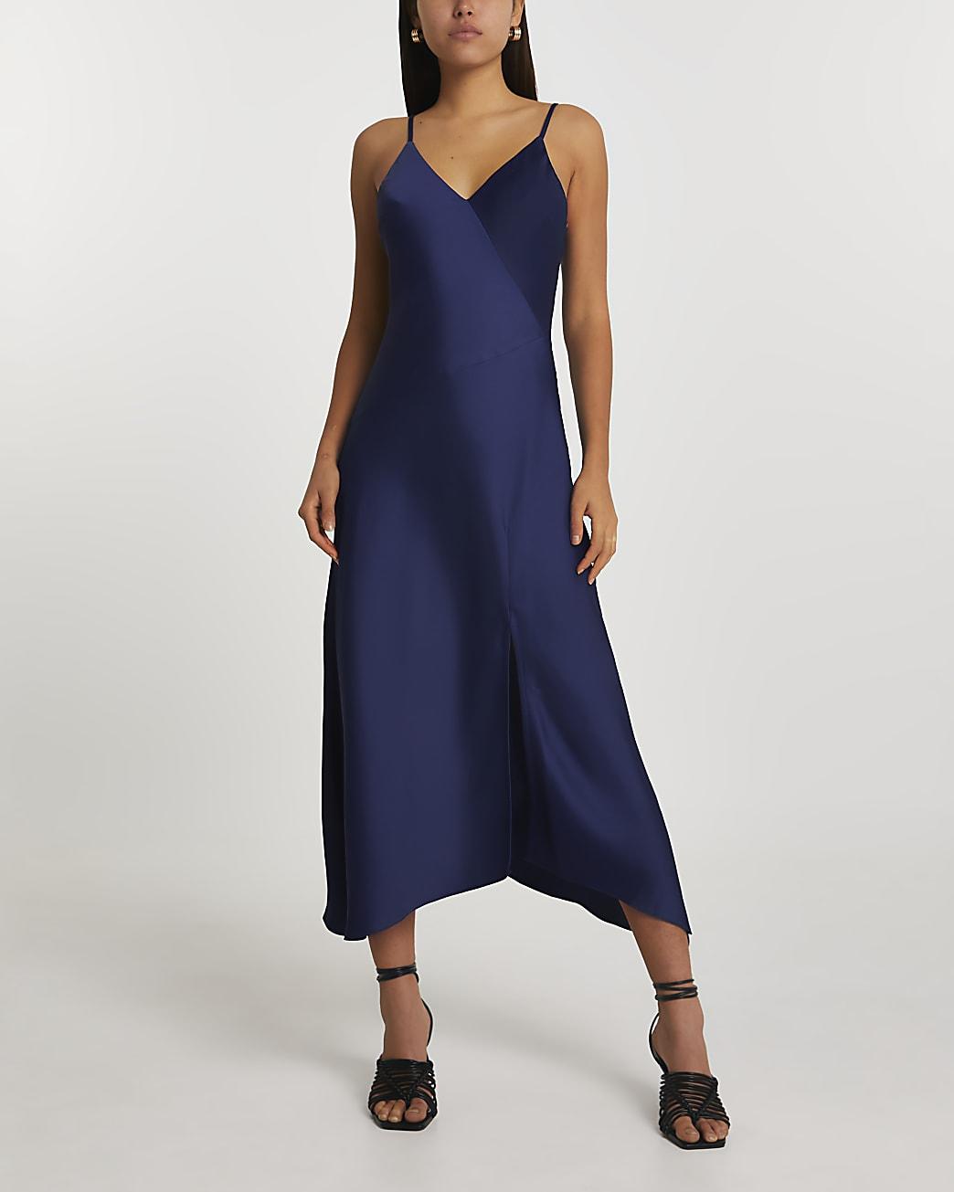 Navy asymmetric slip dress