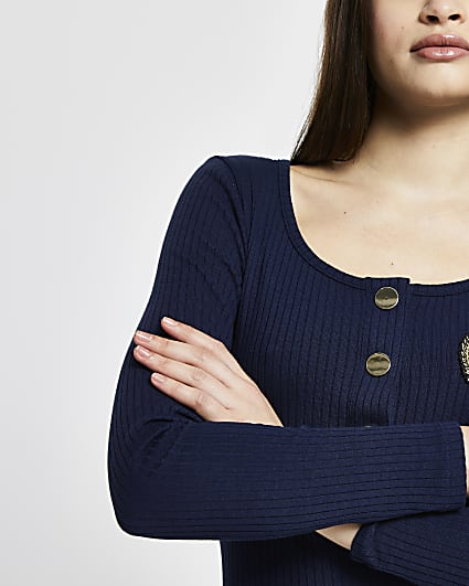 Navy badge button down ribbed top