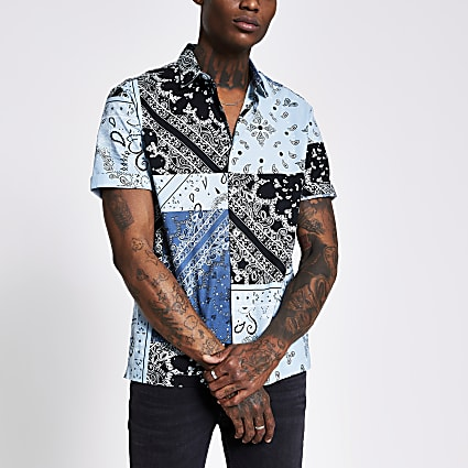 Navy bandana print slim fit shirt