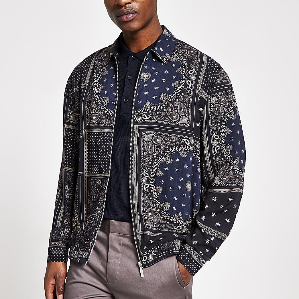 Marineblaues Überhemd mit Banada-Print und Reißverschluss