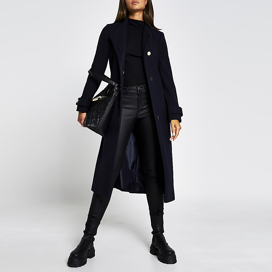 Navy belted button detail coat