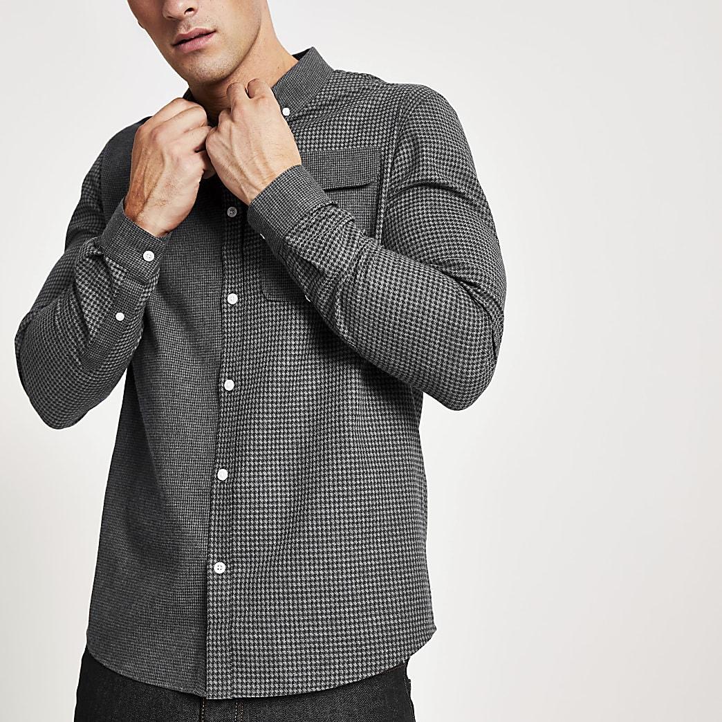Marineblaues Regular Fit Hemd mit Karomuster in Blockdesign