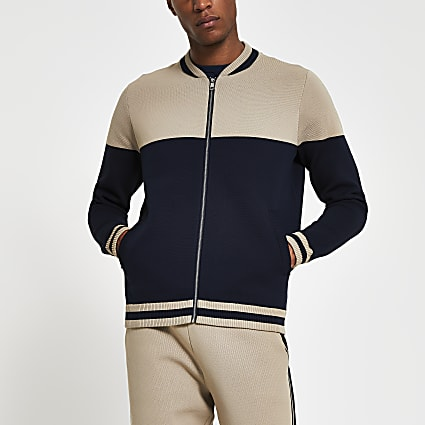 Navy blocked jersey bomber jacket