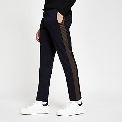 Navy blocked panel skinny joggers