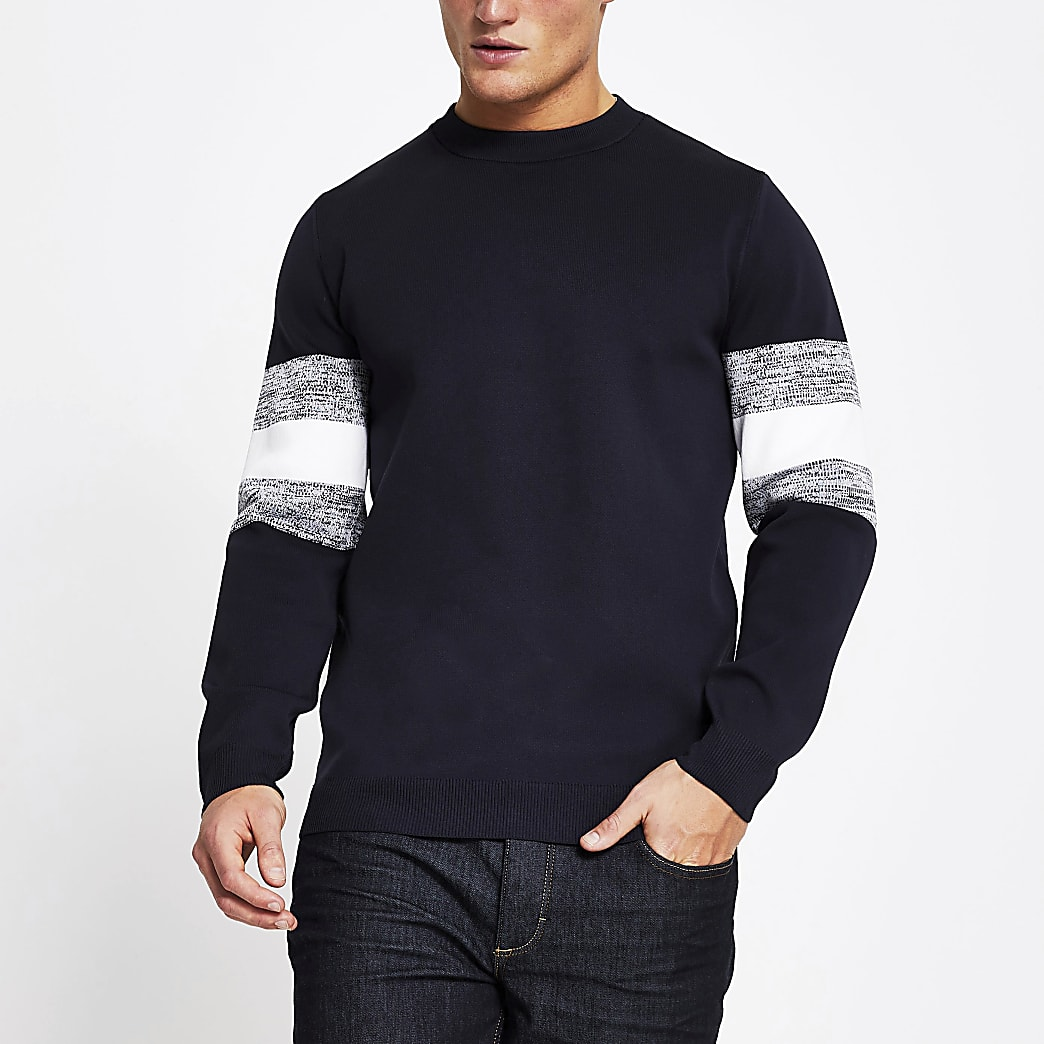 Navy blocked sleeve slim fit jumper