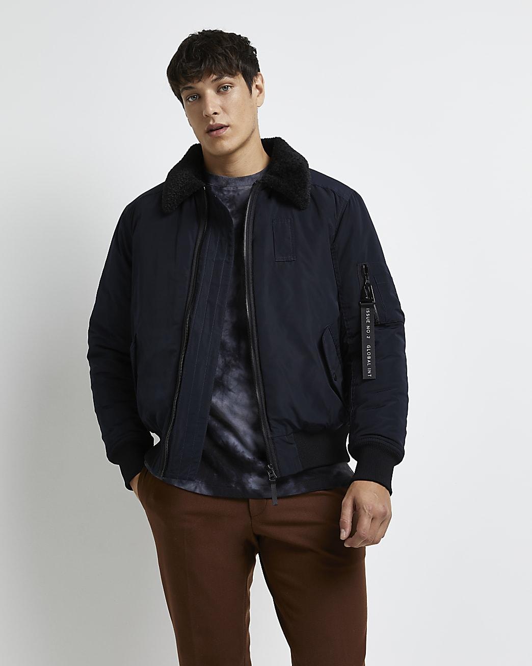 Navy borg collar bomber jacket