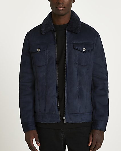 Navy borg lined suedette western jacket
