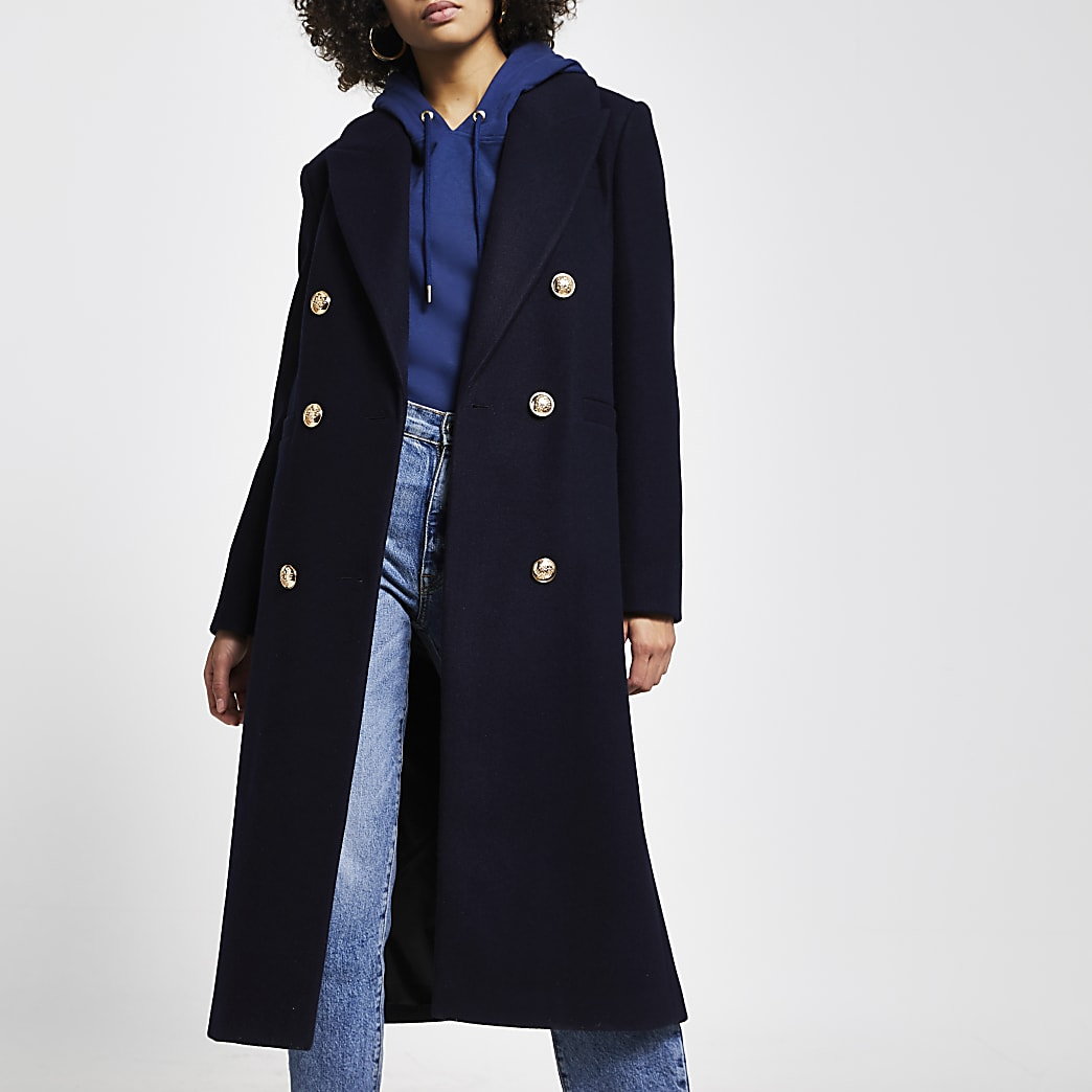 Navy boyfriend boxy coat