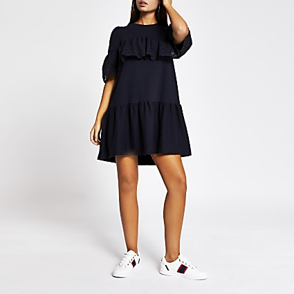 Navy broderie frill smock T-shirt dress