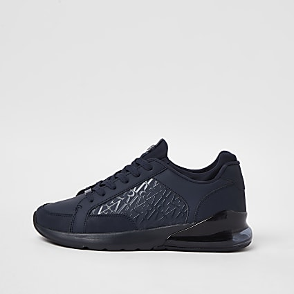 Navy bubble monogram lace up runner trainers