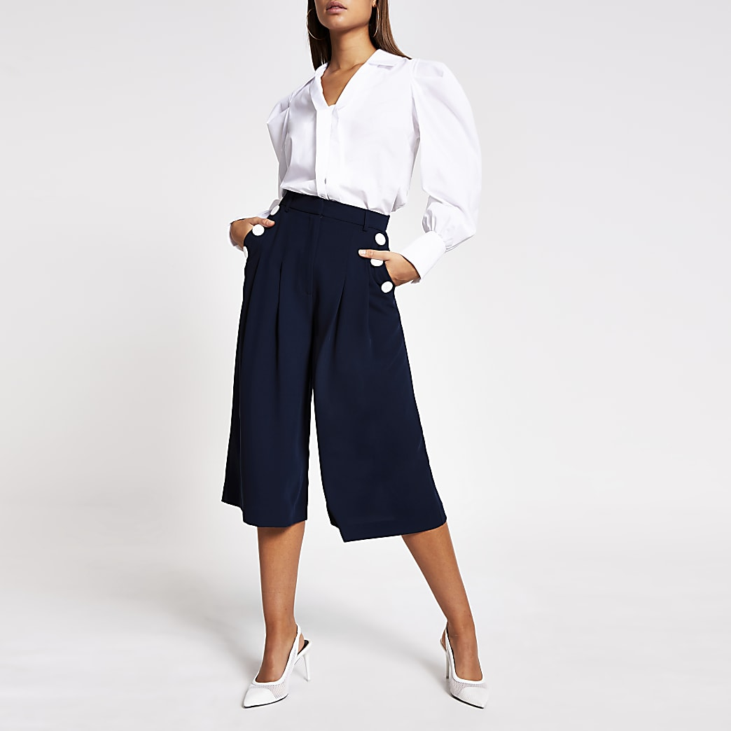 Navy button front culotte trousers