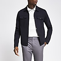 Navy button front skinny fit western Jacket
