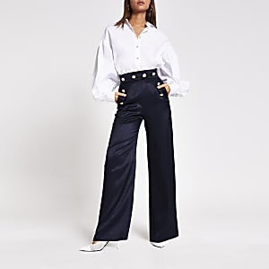 Navy button front wide leg trousers