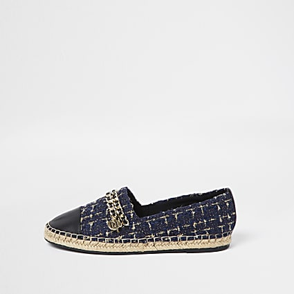 Navy chain detail espadrille shoes