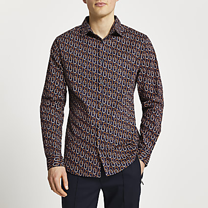 Navy chain print long sleeve muscle fit shirt