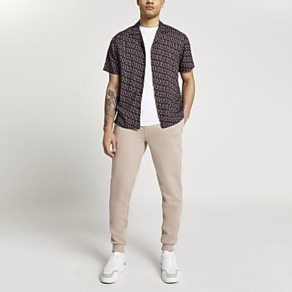 Navy chain print short sleeve revere shirt