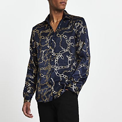 Navy chain print slim fit shirt