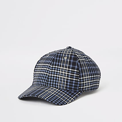 Navy check baseball cap