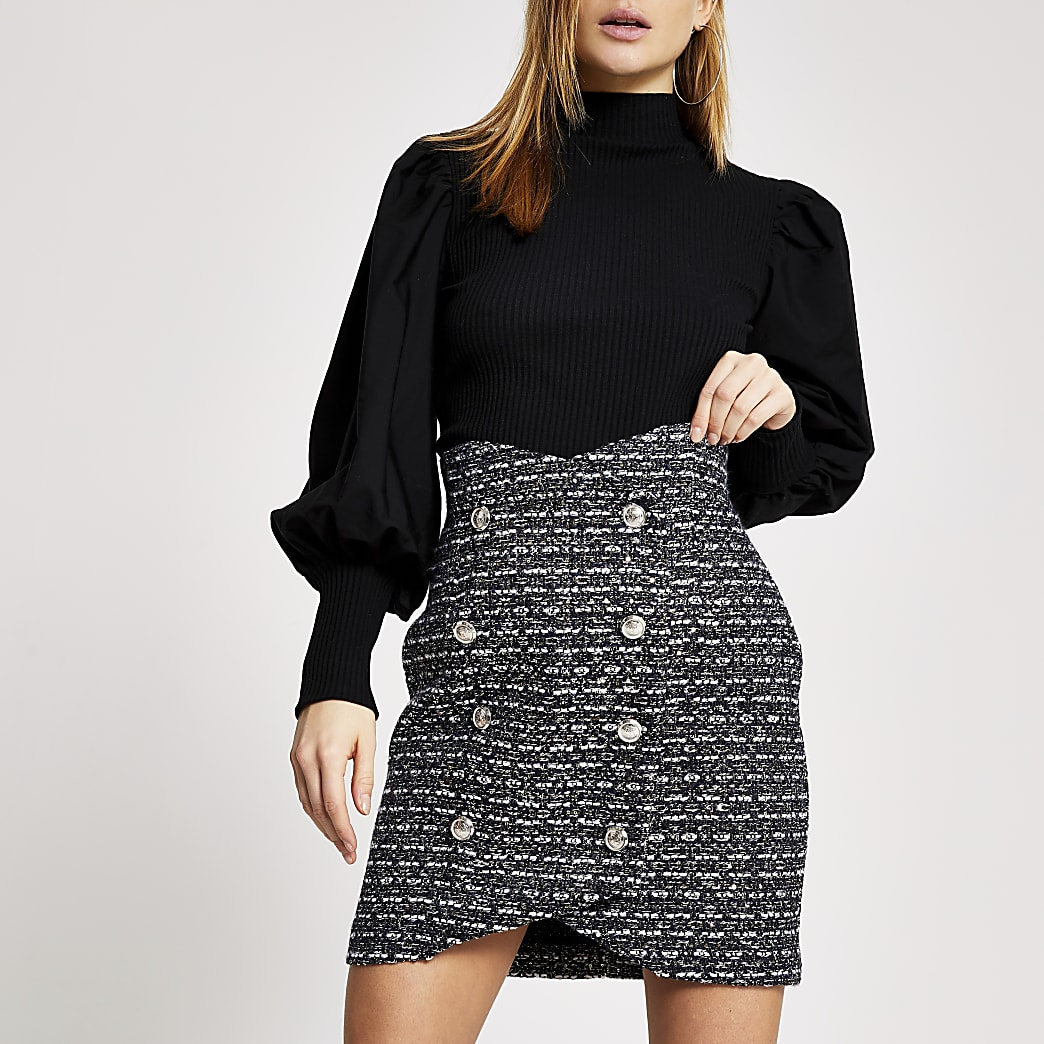 Navy check boucle button front mini skirt