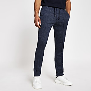 Marineblauwe geruite skinny-fit joggingbroek met pintuck-patroon