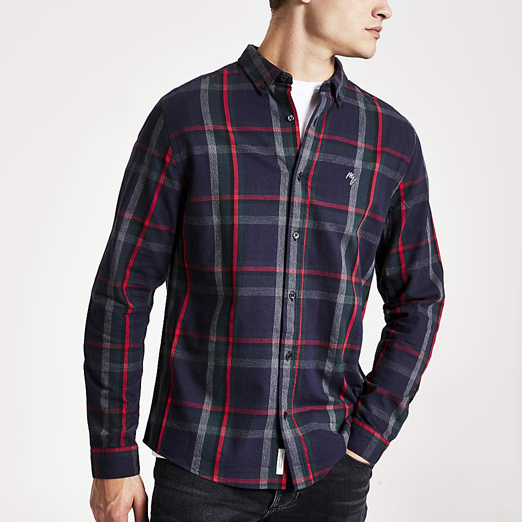 Marineblauw slim-fit overhemd met lange mouwen en ruitenprint