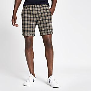 Marineblaue Skinny Fit Shorts mit Karomuster