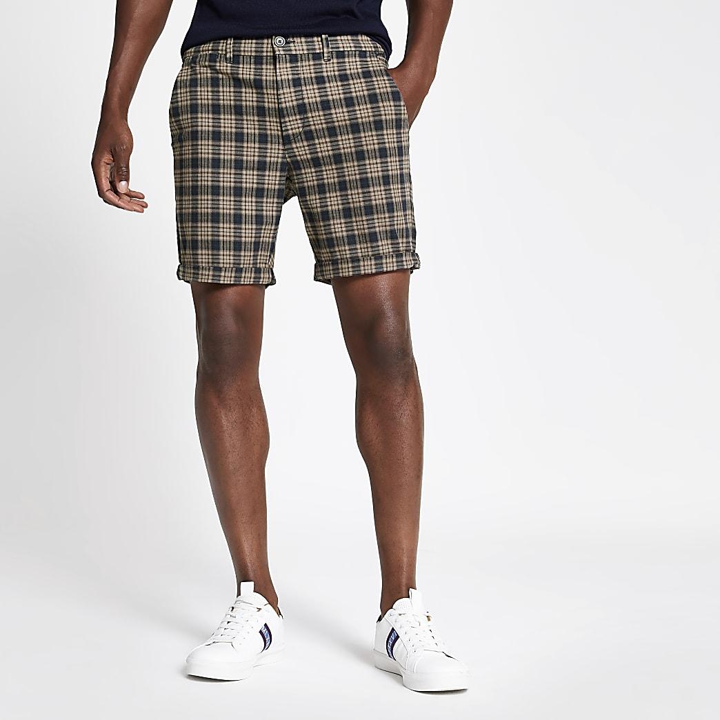 Short skinnyà carreaux bleu marine