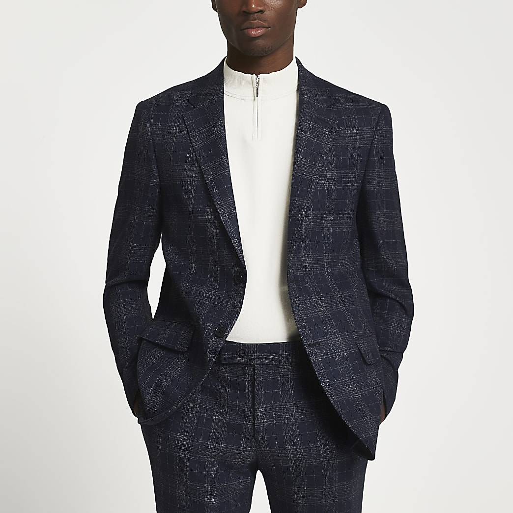 Navy check print skinny fit suit jacket